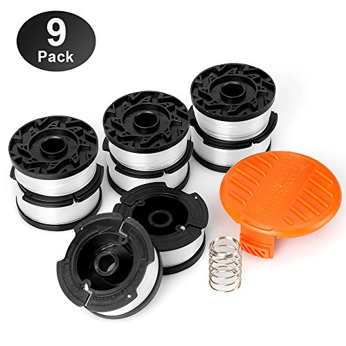 """YWTESCH Line String Trimmer Replacement Spool,30ft 0.065"""" Autofeed String Trimmer Line Replacement Spool for Black+Decker String Trimmers,9 Pack (8 Replacement Spool, 1 Trimmer Cap,1 Spring)"""