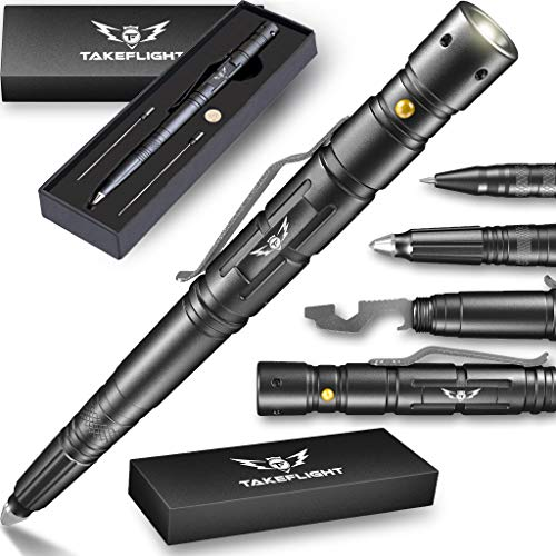 Tactical Pen for Self-Defense | LED Tactical Flashlight, Bottle Opener, Window Breaker | Multi-Tool for Everyday Carry (EDC) Survival Gear | Used by Military, Police, SWAT | Gift-Boxed w/ Extra Ink