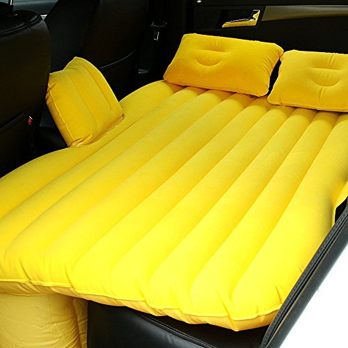 HJJH Auto Cushioned Backseat Extended Mattress Multifunctional Air Sofa and Car Air Pump, Child Safety Baffle and Two Air Cushions,Yellow