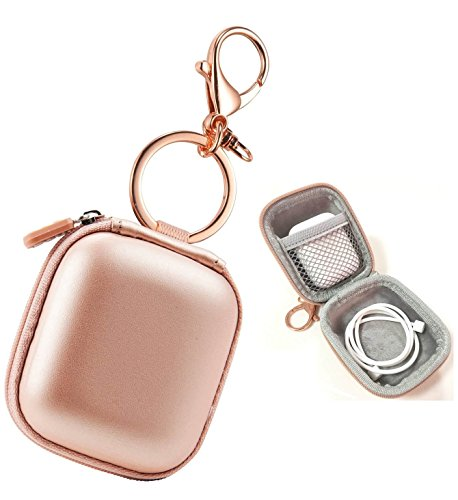Airpods Case Keychain, AirPod Charging Protective Case, Earbud Case, PU Leather Hard case, Portable Carrying Case with Metal Clasp and Keychain Compatible with Apple AirPods Bluetooth Earphone