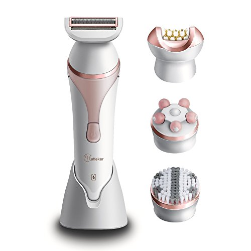 Hatteker Women's Hair Removal Cordless Rechargeable Ladies Electric Shaver Wet & Dry Hair Epilator for Legs Body Hair Bikini Trimmer with Facial Cleansing Brush Body Massager 4 in 1 Set