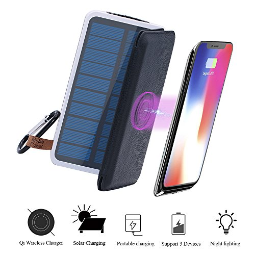 Wireless Charger Solar Power Bank-TJFOREVER 10000mAh Waterproof Solar Charger with QI Fast Wireless Charging Pad,3 Foldable Solar Panels,Dual USB,LED Flashlight for IPhone X/8/8 Plus,S8 (black)