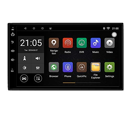 Upgraded Android 7.1 Quad Core CPU 7 inch Touch Screen in Dash Double Din car Stereo Vehicle GPS Navigation Headunit Car WiFi Bluetooth Radio Audio System with Free Rear Camera and Car Tuning Tools