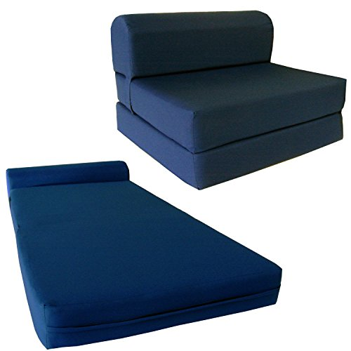 "Chair Folding Foam Bed, Studio Sofa Guest Folded Foam Mattress (6"" x 48"" x 72"", Navy Blue)"