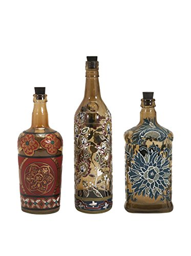 IMAX -3 Reclaimed Hand-Painted Bottles