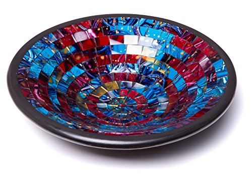 """Glass Mosaic Round Accent Plate Platter Decorative Catch-All Tray Dish Centerpiece Bowl - 11"""" Large Modern Style with Blue, Red, Purple, Yellow Colors for Living Room, Bedroom, Hallway Console Side Ta"""