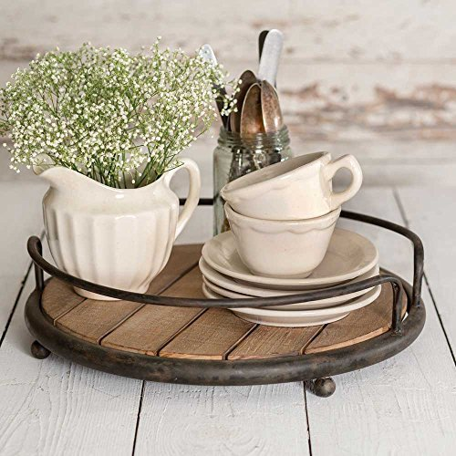 Round Wood Plank Serving Tray-Weathered Farmhouse Chic