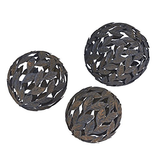 Household Essentials Metal Leaf Decorative Balls