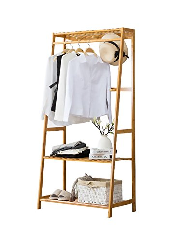 Ufine Garment Rack Bamboo Wood Entryway Clothes