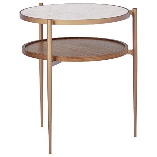 """Rivet Modern Metal Side Table, 18""""W, White/Brass/Walnut"""