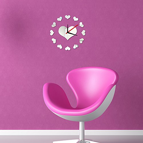 DIY Loving Heart Wall Clock Sticker Set Removable