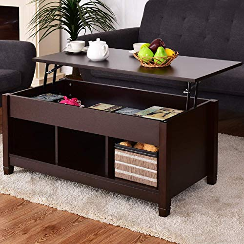 Modern Lift Top Storage Coffee Table w/Hidden Compartment