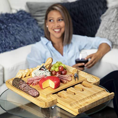 SUPUNO Stylish Bamboo Cheese Board with Cutlery Set