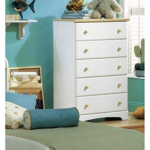 5-Drawer Dresser - Pure White Natural Maple