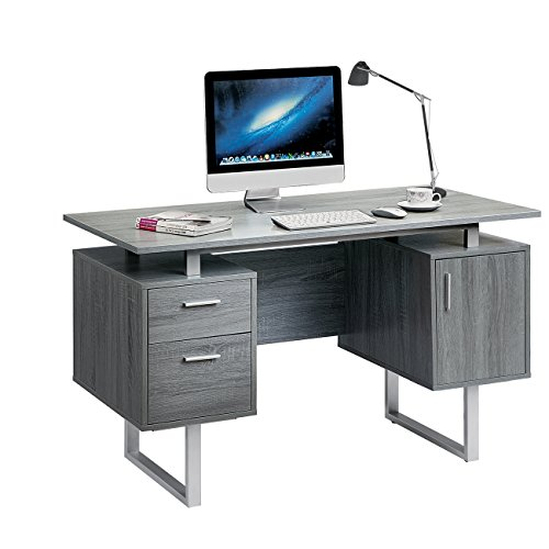 Techni Mobili Modern Office Desk with Storage, Gray