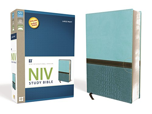 NIV Study Bible, Large Print, Leathersoft, Teal, Red Letter Edition