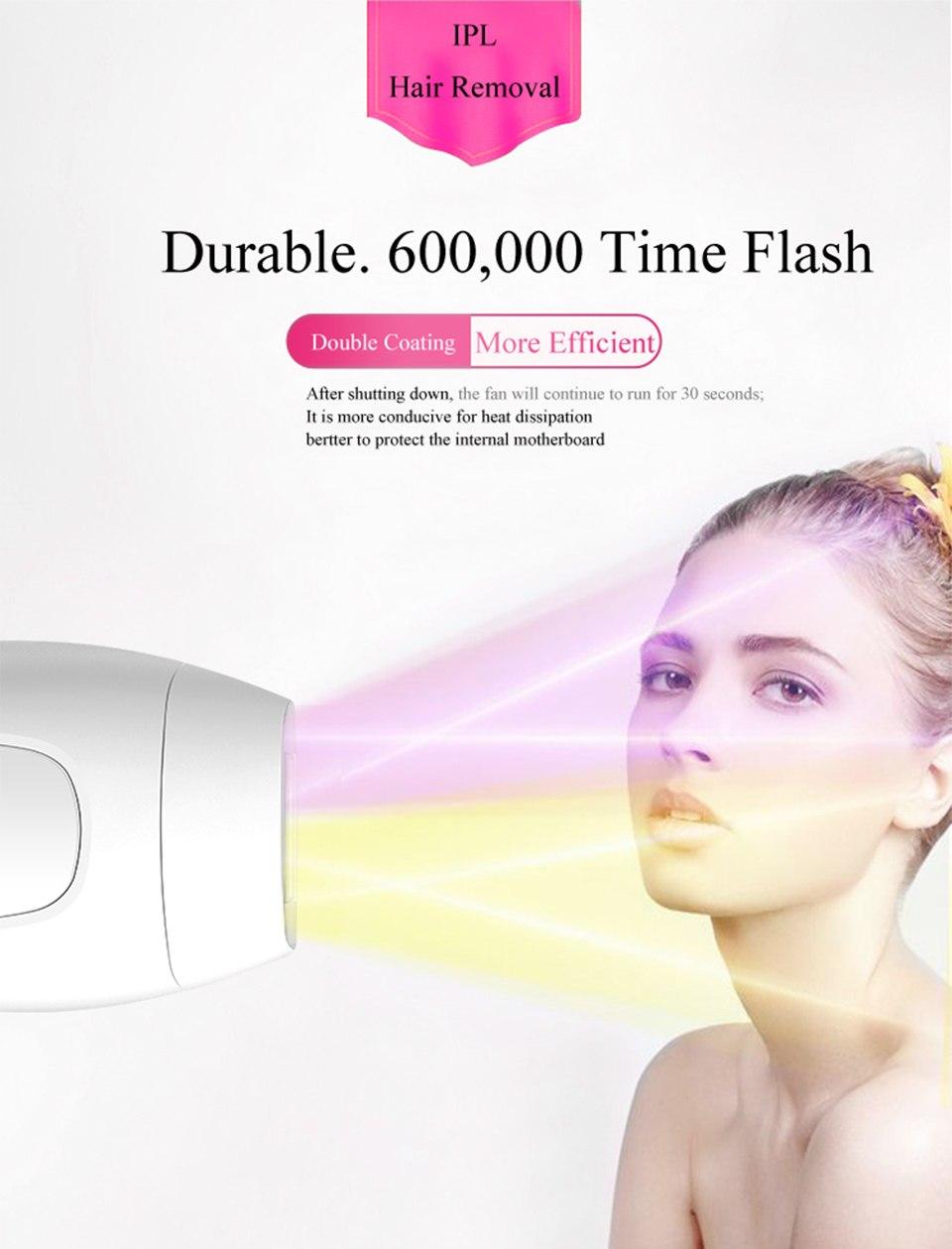 600000 flash professional permanent IPL epilator laser hair removal electric photo women painless threading hair remover machine 12