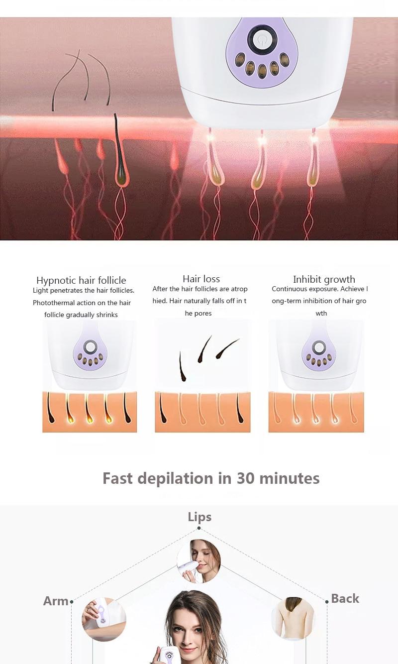 IPL Laser Hair Removal Machine Laser Epilator Hair Removal Permanent Bikini Body 500000 Pulsed Depilador 8