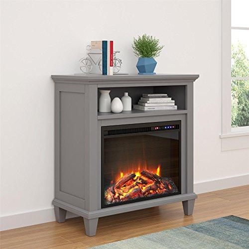 "Novogratz Lytton Electric Fireplace 32"", Gray Accent Table TV Stand"