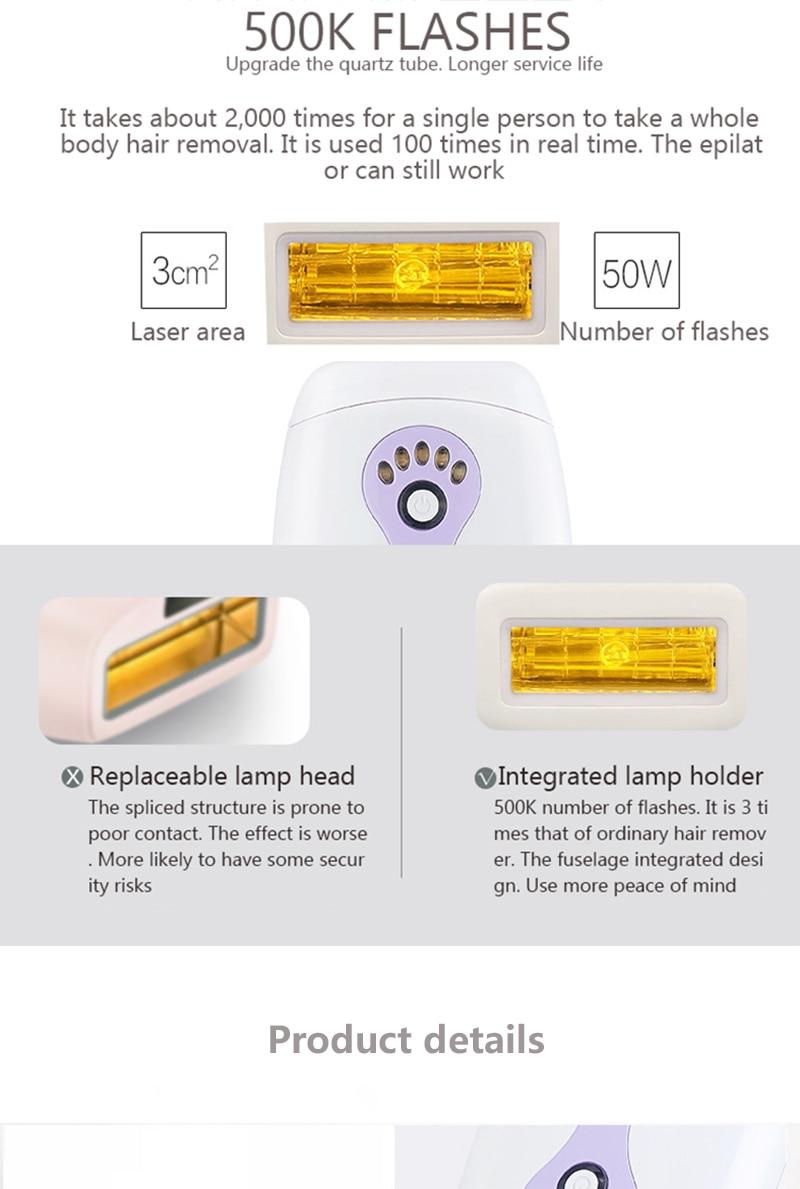 IPL Laser Hair Removal Machine Laser Epilator Hair Removal Permanent Bikini Body 500000 Pulsed Depilador 13