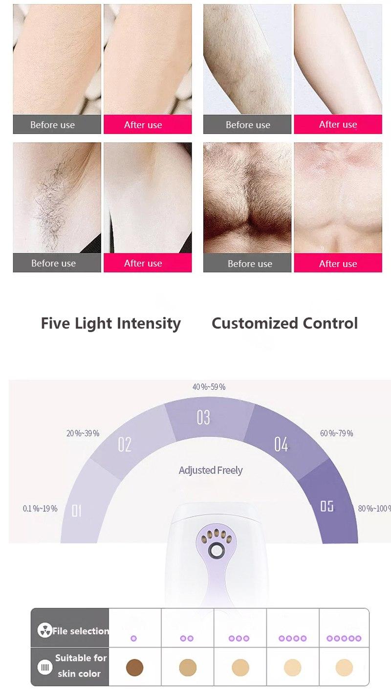 IPL Laser Hair Removal Machine Laser Epilator Hair Removal Permanent Bikini Body 500000 Pulsed Depilador 10