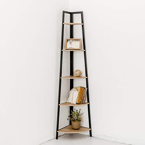 C-Hopetree Corner Shelf Industrial Ladder Bookshelf Indoor Plant Stand