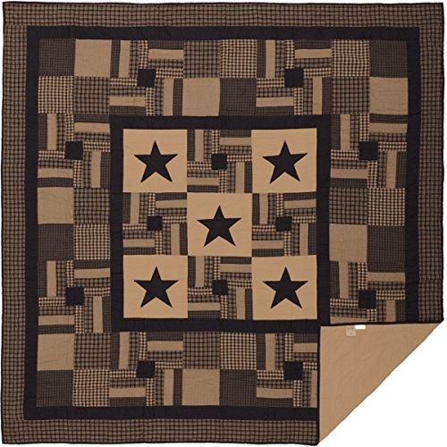 VHC Brands Primitive Bedding Black Check Star Quilt