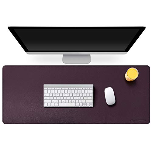 "Mydours PU Leather Desk Mat Pad Blotter Protector 37.4""×15.7"" XXL Large Laptop Keyboard Mat Mouse Pad Both Side Waterproof Leather Desk Protective Pads for Office/Home (Dark Purple)"
