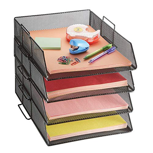 4 Tier Pack Stackable Tray Office Desk Organizer File and Desktop Holder for Paper Letter Accessories Black Discount Pack by MissionMax