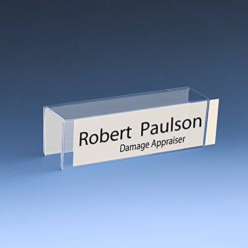 """8-1/2"""" x 2"""" Double-Sided Cubicle Name Plate Holders 8-1/2"""" wide x 2"""" high x 2"""" deep hook - PNH2085020020 (40 Pack)"""