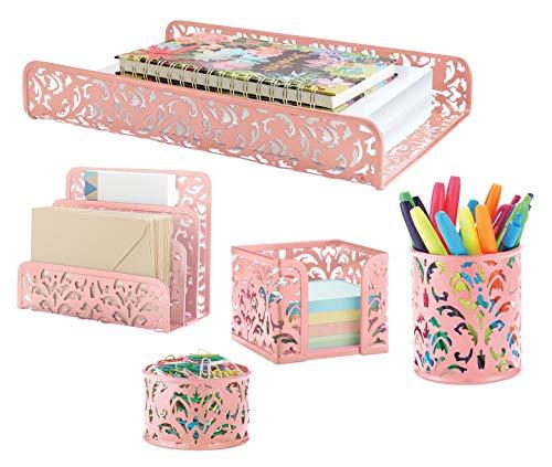 Pink 5-Piece Metal Desk Accessories, Desk Organizer & Desk Decor Set