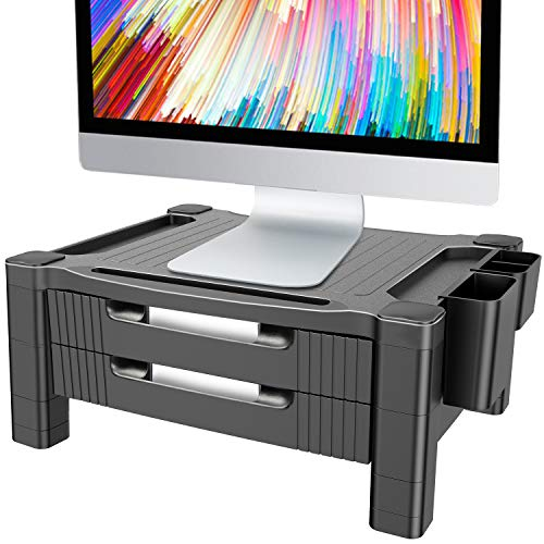 Monitor Stand Riser with Dual Storage Drawers - Adjustable Computer Screen Riser Printer Stand, Desk Organizer with Phone and Tablet Slot - Removable Holder for Pen Pencil Office Supplies by HUANUO