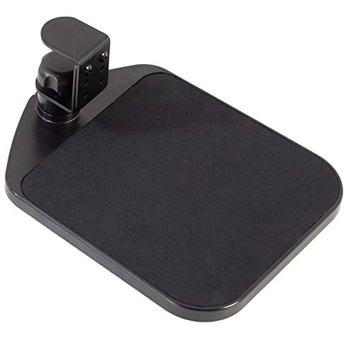 VIVO Black Desk Clamp Adjustable Computer Mouse Pad and Device Holder Extended Rotating Platform Tray   Fits up to 2 inch Desktops (MOUNT-MS01A)