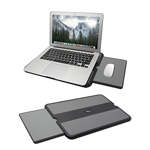 MAX SMART Portable Laptop Lap Pad, Laptop Desk with Retractable Mouse Tray, Anti-Slip Heat Shield Notebook Computer Stand Table, Working Station for Home, Office, Recliner, Business and Travel