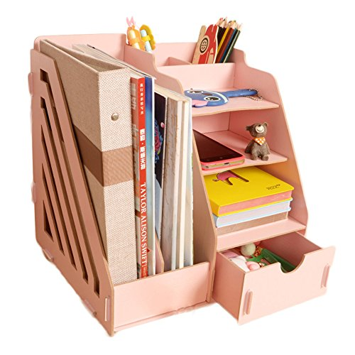 MineDecor Wood Desk Organizer Drawer Trays Office Desktop Organizers File Holders Office Supplies 4 Tier 6 Compartments (Pink)