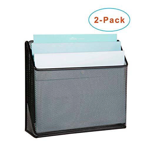 DESIGNA 3 Tiers File Folder Organizer, Mesh Standing File Organizer Black (2 Pack)