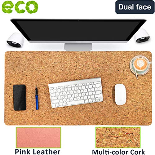 """Aothia Eco-Friendly Natural Cork & Leather Double-Sided Office Desk Mat 31.5"""" x 15.7"""" Mouse Pad Smooth Surface Soft Easy Clean Waterproof PU Leather Desk Protector for Office/Home(Multicolored)"""