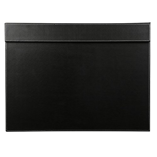 KINGFOM Ultra-Smooth PU Leather Writing Pad Desk Mat with Office Desk A3/ A4 File Paper Clip Drawing & Writing Board Tablet (Black)
