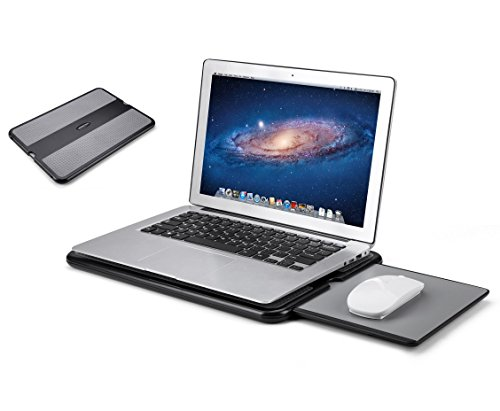 AboveTEK Portable Laptop Lap Desk w/Retractable Left/Right Mouse Pad Tray, Non-Slip Heat Shield Tablet Notebook Computer Stand Table w/Sturdy Stable Cooler Work Surface for Bed Sofa Couch or Travel