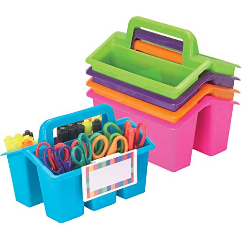 Really Good Stuff Four-Compartment Caddies (Set of 5) - Neon - Perfect to Color-Code Tables, Group Work - Built-In Handles, Clip-On Label Holders - Stackable for Easy Storage