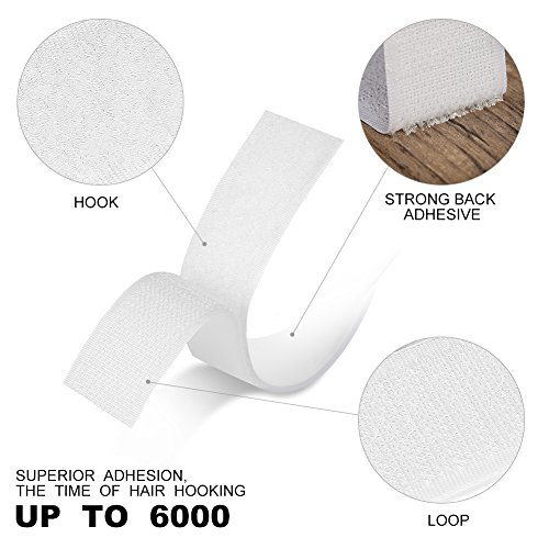 Self Adhesive Hook and Loop Tape roll Sticky Back Strip Adhesive Backed Fabric Fastener Mounting Tape for Picture and Tools Hanging Pedal Board Fastening by JIHO (3/4INCH, White)