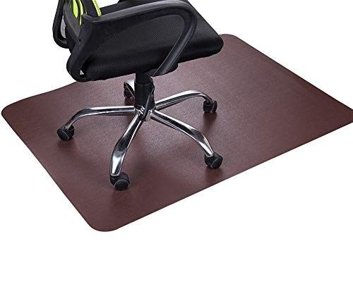 "Dark Cherry Office Chair Mat and Under Computer Desk Pad for Hardwood Floor and Heavy Appliance, Brown Anti-slip 47x35"" Rectangular Floor Protector, Non-Toxic and No BPA, Not Suitable for Carpets"