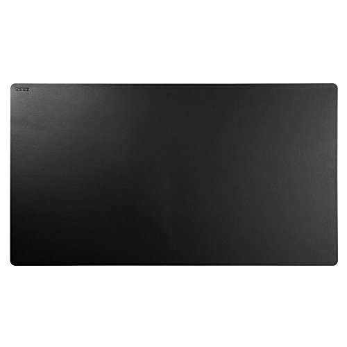 """Teather Black Leather Desk Pad PU Leather Desk Mouse Mat Blotters Organizer for Gaming, Writing, Working (34""""x17"""")"""