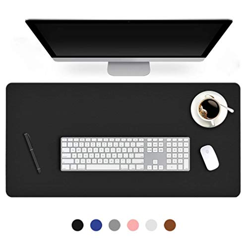 24 X 48 Inch Desk Blotter Pad on Top of Desks Waterproof PU Leather Mouse Pad Desk Writing Mat For Home Office Large Laptop Computer Gaming Under Keyboard Pad Desk Accessories for Women Men Kids Black