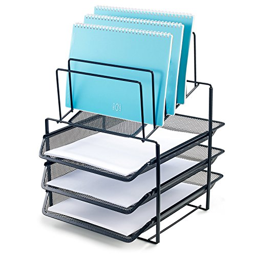Bonsaii Desk Organizer with 3-Tier Letter File Tray and 5 Stacking Sorter Section