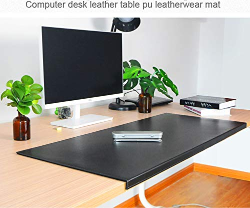 "Non-Slip Soft Leather Surface Office Desk Mouse Mat Pad with Full Grip Fixation Lip Table Blotter Protector 35.4""x 15.8"" Leather Mat Edge-Locked(Black)"