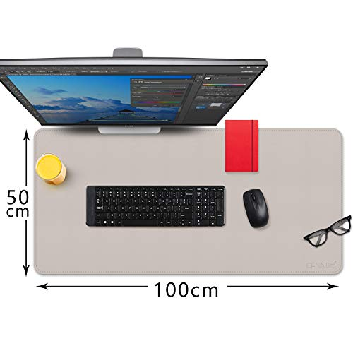 CENNBIE 100x50cm Desk Pads Artificial Leather Laptop Mat, Perfect Desk Mate for Office and Home, Rectangular, Large(Cream Color)