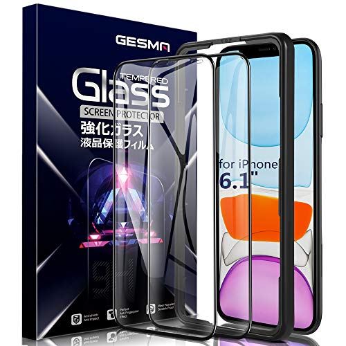 Gesma Screen Protector for iPhone 11 6.1 inch/iPhone XR 2018, Full Coverage Bubble Free Scratchproof 9H Hard Tempered Glass Screen Protector for iPhone 11 6.1 inch 2019 [with Alignment Frame][2-Packs]