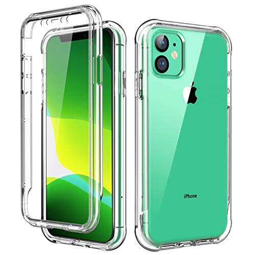 SKYLMW iPhone 11 Case,[Built in Screen Protector] Full Body Shockproof Dual Layer High Impact Protective Hard Plastic & Soft TPU with Phone Cover Cases for iPhone 11 6.1 inch 2019,Clear