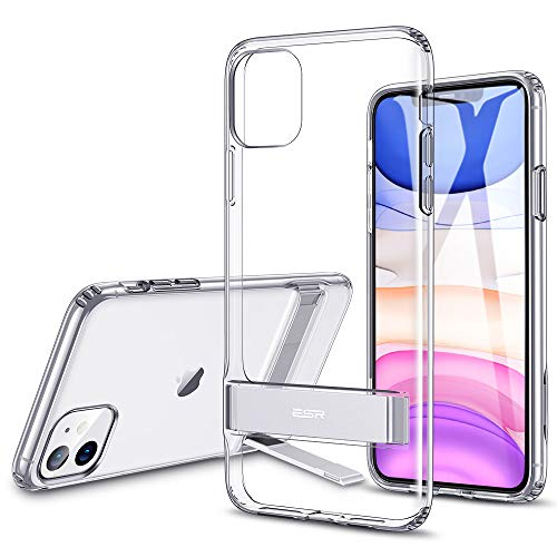 ESR Metal Kickstand Designed for iPhone 11 Case, [Vertical and Horizontal Stand] [Reinforced Drop Protection] Flexible TPU Soft Back for iPhone 11 (2019 Release), Clear